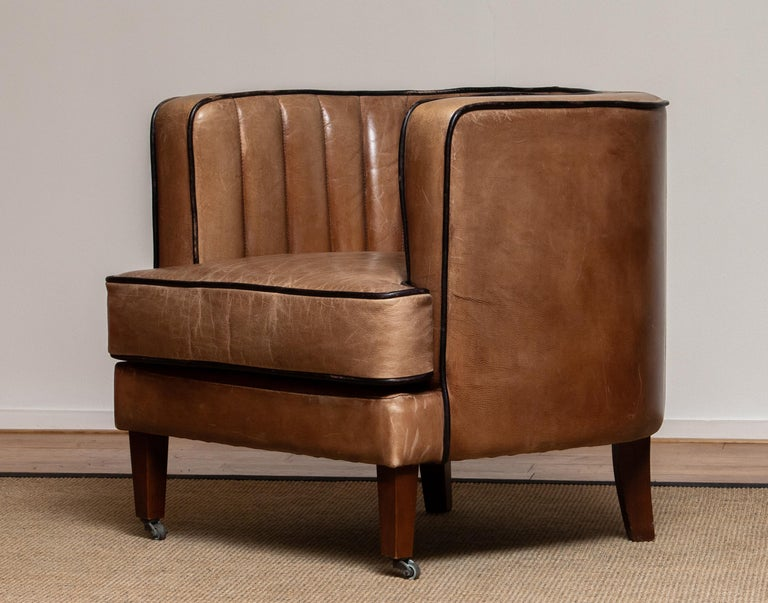 Mid-20th Century Brown Leather Art Deco Club Lounge Chair, Denmark, 1950s