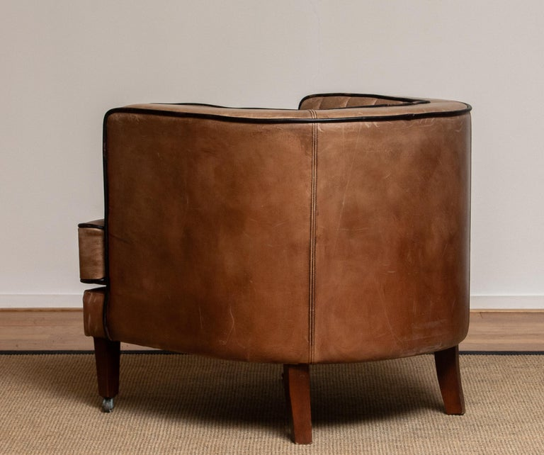 Brass Brown Leather Art Deco Club Lounge Chair, Denmark, 1950s