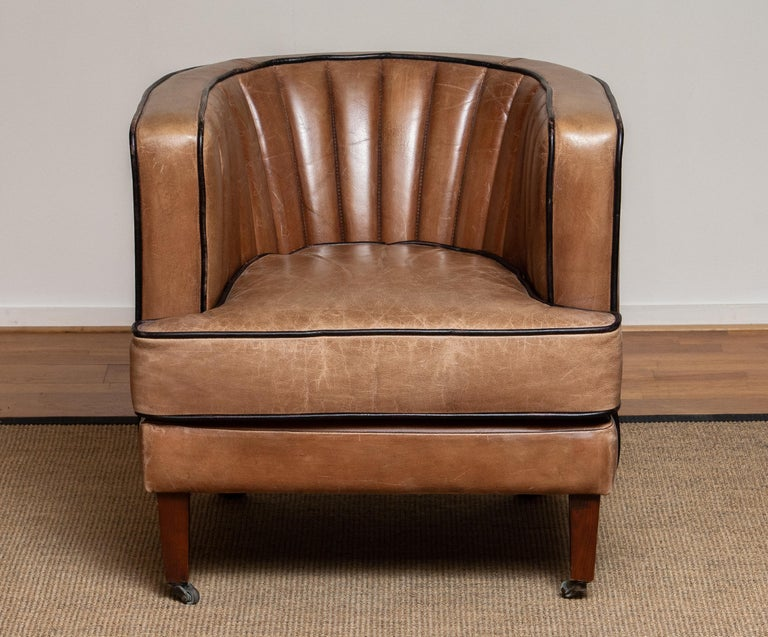 Brass Brown Leather Art Deco Club Lounge Chair, Denmark, 1950s For Sale