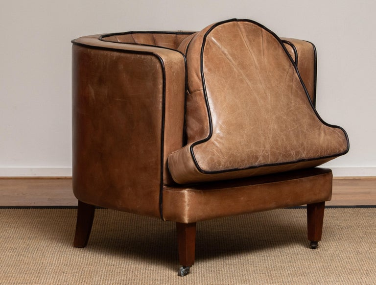 Brown Leather Art Deco Club Lounge Chair, Denmark, 1950s For Sale 1