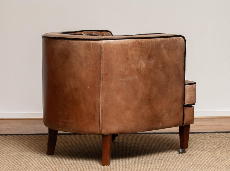 Brown Leather Art Deco Club Lounge Chair, Denmark, 1950s 3