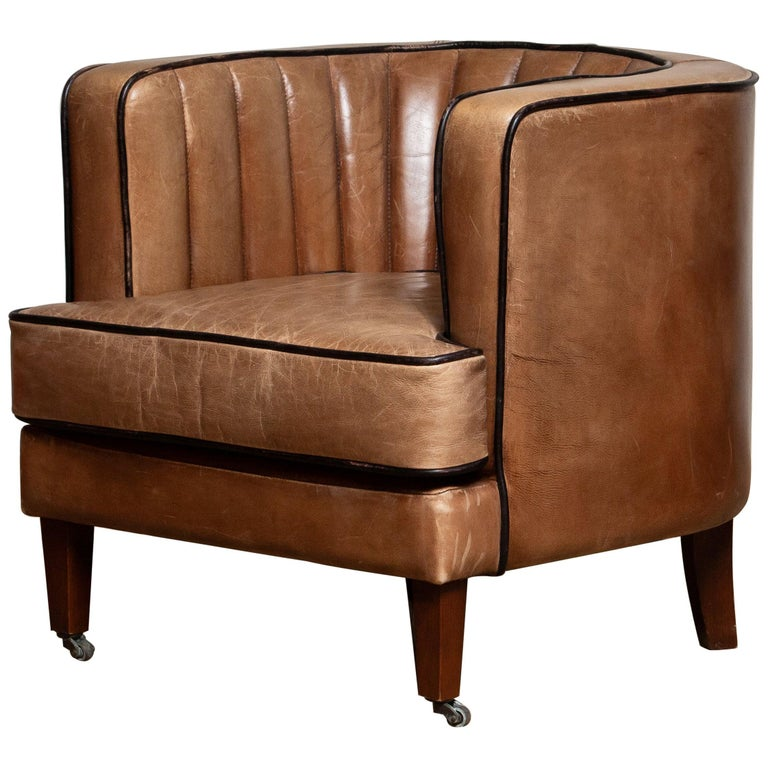 Brown Leather Art Deco Club Lounge Chair, Denmark, 1950s