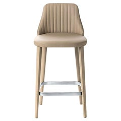 Brown Leather Break Bar Stool, Designed by Enzo Berti, Made in Italy