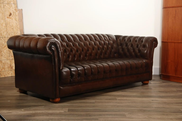 Brown Leather Button Tufted Chesterfield Sofa at 1stdibs