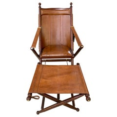 Brown Leather Campaign Folding Chair and Matching Ottoman Stool by Palecek