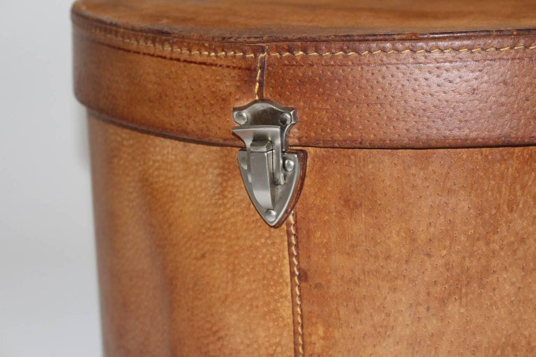 Austrian Mid Century Modern Vintage Brown Leather Case Austria, circa 1950 For Sale
