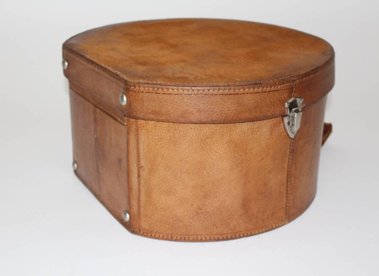 Mid-20th Century Mid Century Modern Vintage Brown Leather Case Austria, circa 1950 For Sale