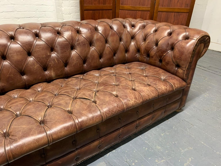 Mid-20th Century Brown Leather Chesterfield Sofa For Sale