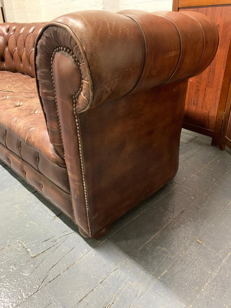 Brass Brown Leather Chesterfield Sofa For Sale