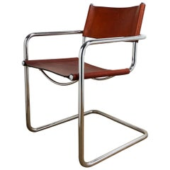 Brown Leather Chrome-Plated Tubular Steel Cantilever Chair Mart Stam Style