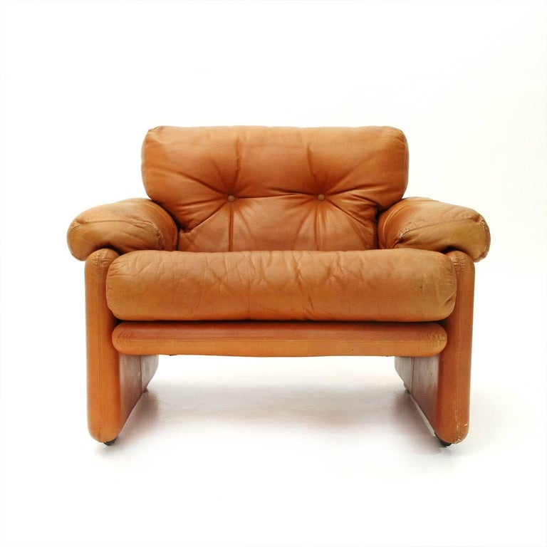 Italian Brown Leather Coronado Armchair by Tobia Scarpa for B&B, 1960s For Sale