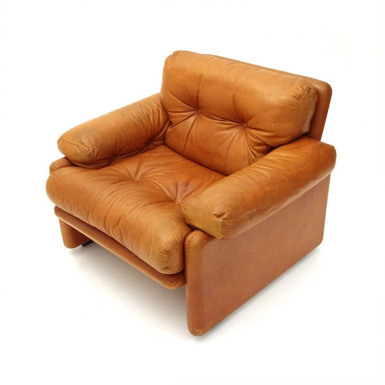 Brown Leather Coronado Armchair by Tobia Scarpa for B&B, 1960s In Good Condition For Sale In Savona, IT