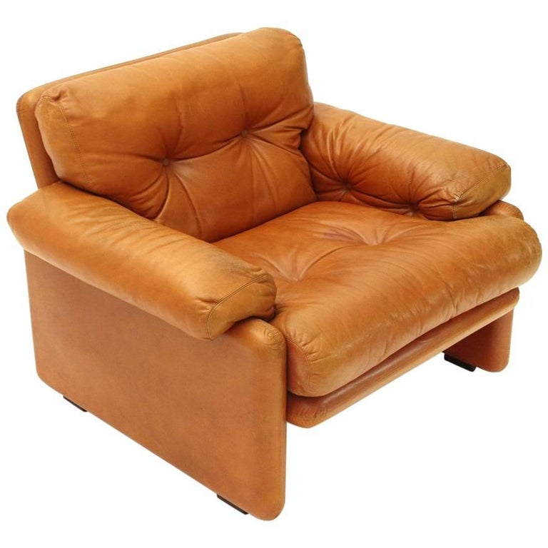 Brown Leather Coronado Armchair by Tobia Scarpa for B&B, 1960s For Sale