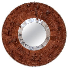 Brown Leather Fringe Mirror