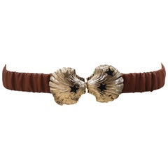 Brown leather gold buckle shell belt