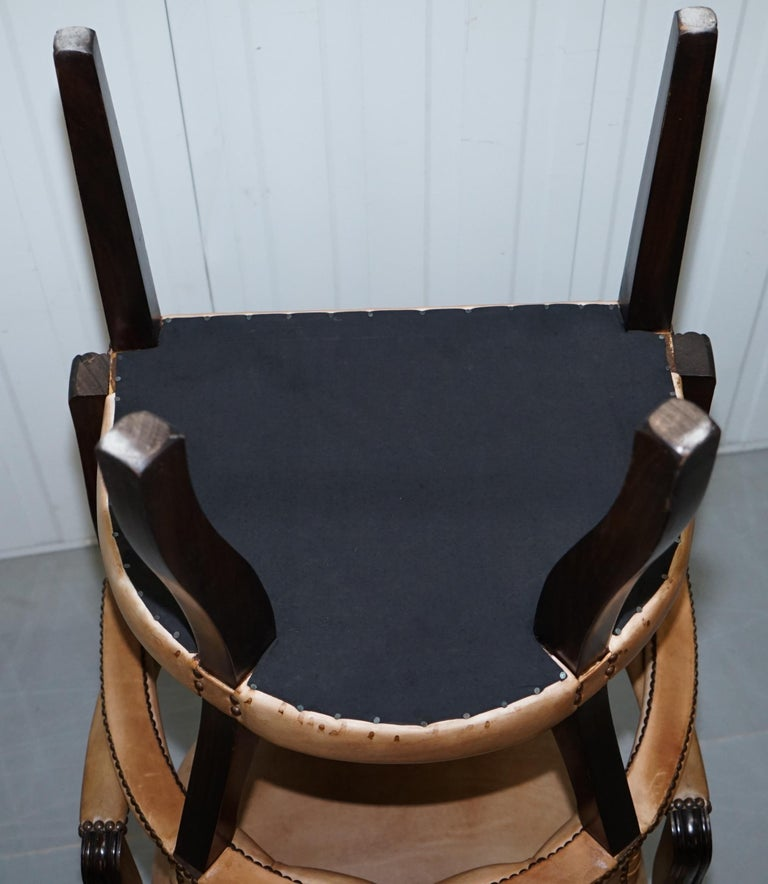 Brown Leather House of Chesterfield Court Office Dining Chairs For Sale 3
