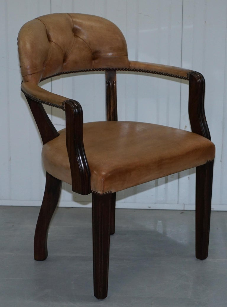 Brown Leather House of Chesterfield Court Office Dining Chairs For Sale 5
