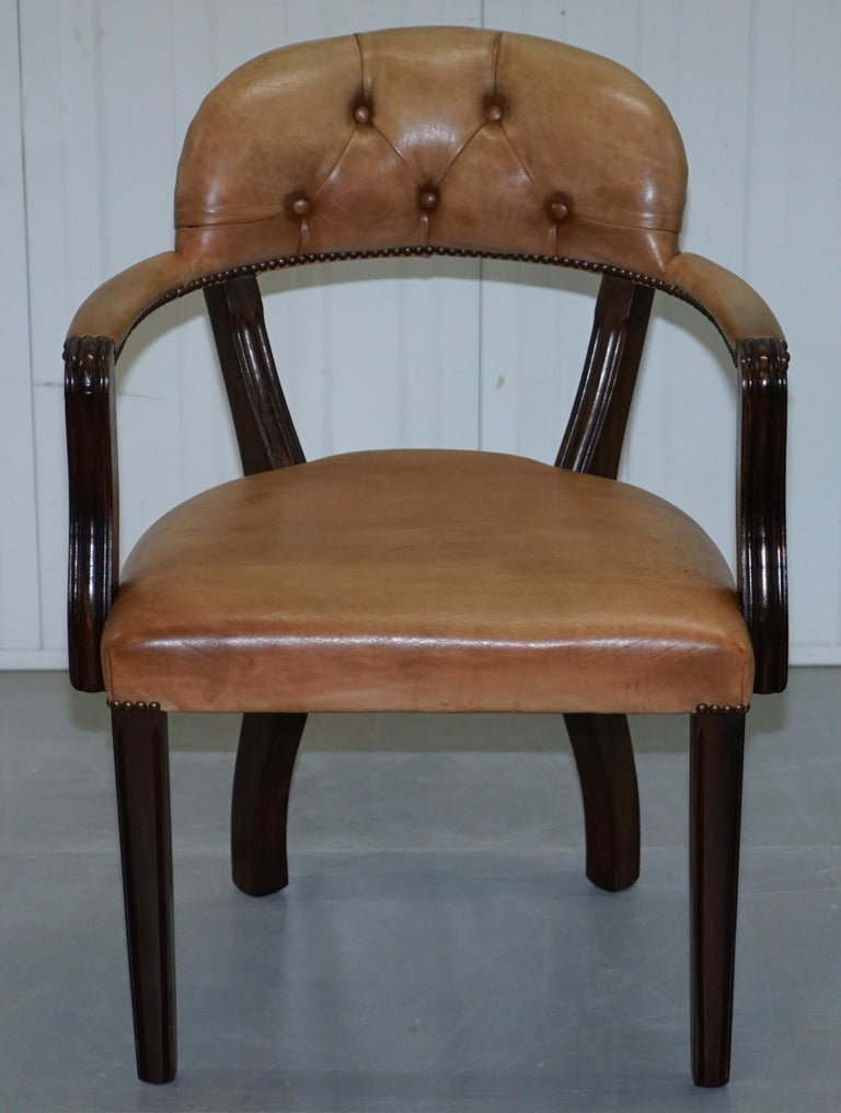 Brown Leather House of Chesterfield Court Office Dining Chairs For Sale 6