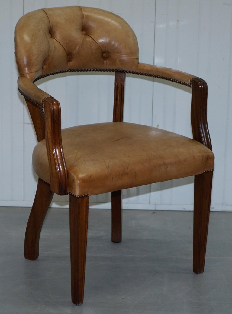 Brown Leather House of Chesterfield Court Office Dining Chairs For Sale 9