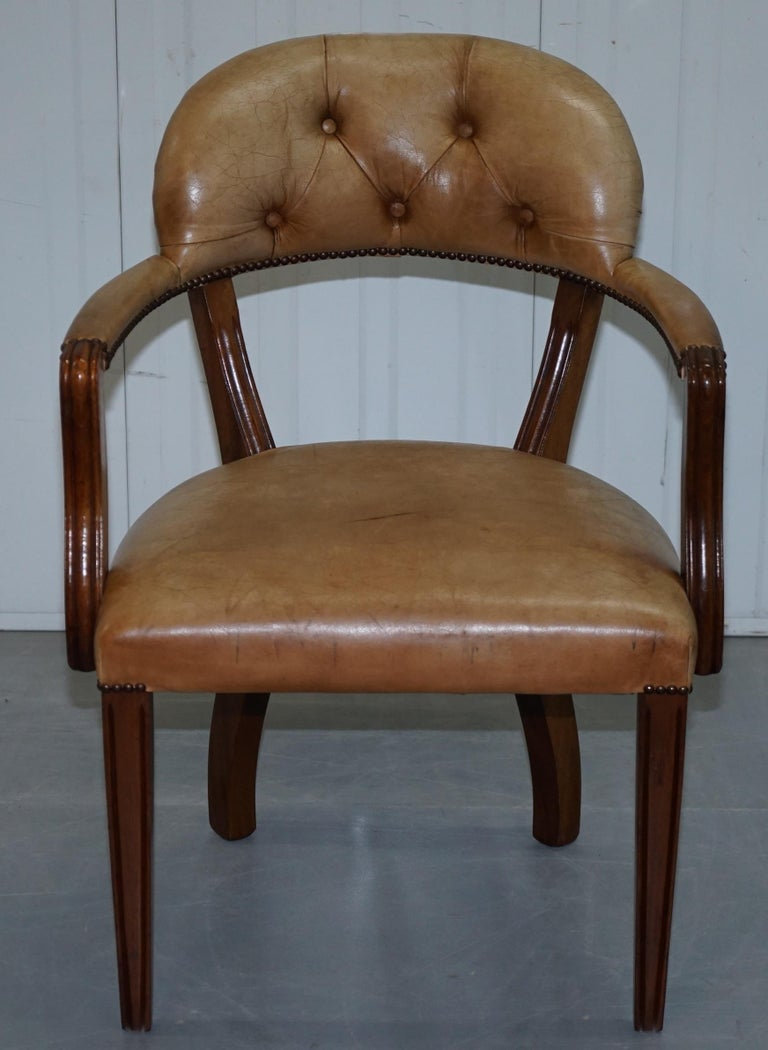 Brown Leather House of Chesterfield Court Office Dining Chairs For Sale 10
