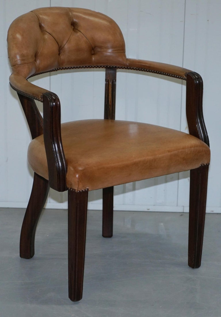 Brown Leather House of Chesterfield Court Office Dining Chairs For Sale 11