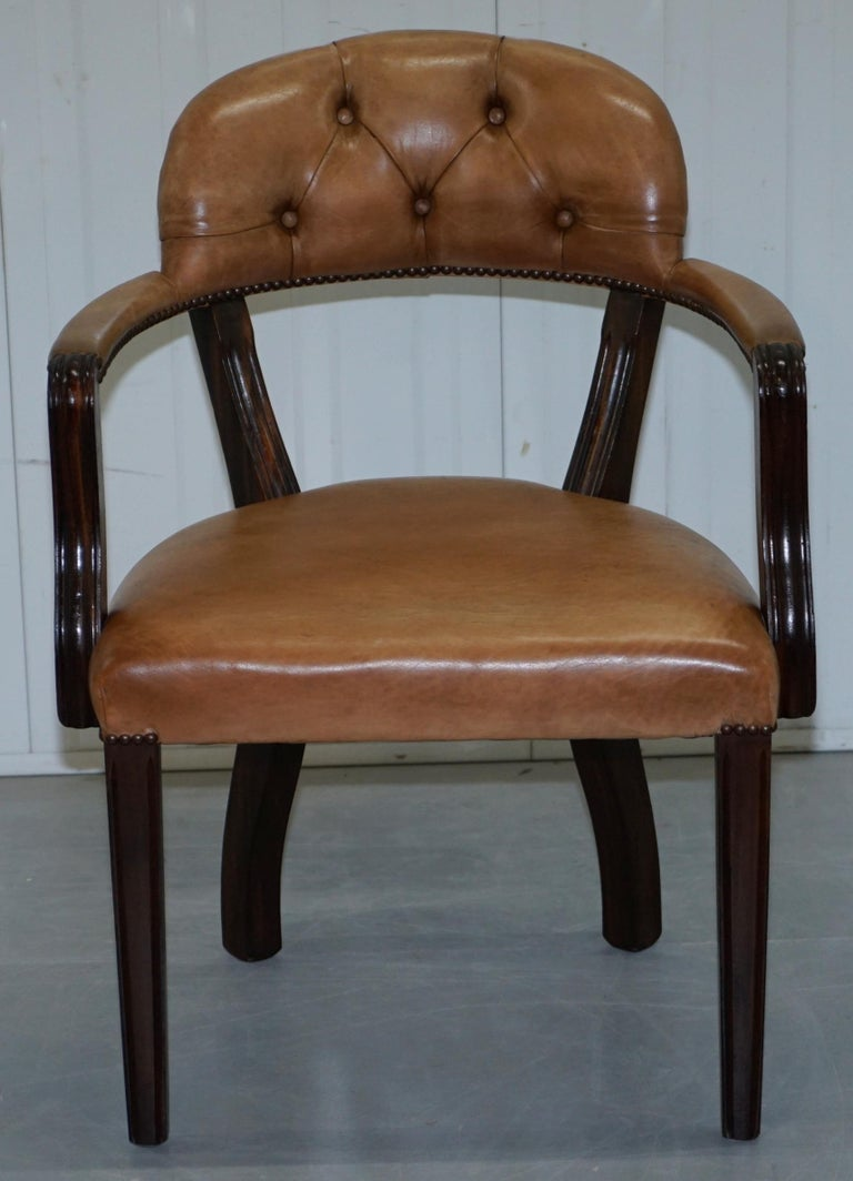 Brown Leather House of Chesterfield Court Office Dining Chairs For Sale 12