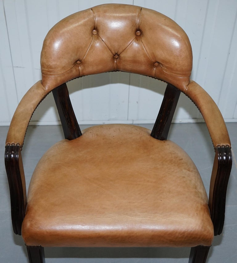 Brown Leather House of Chesterfield Court Office Dining Chairs For Sale 13