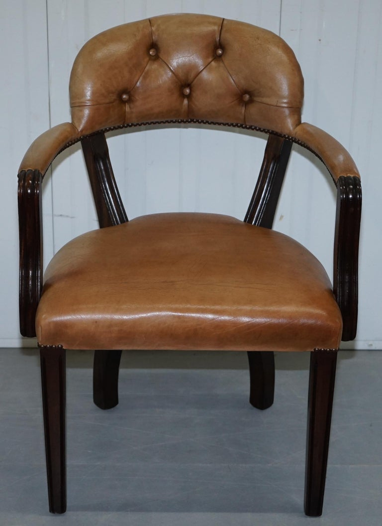 Modern Brown Leather House of Chesterfield Court Office Dining Chairs For Sale