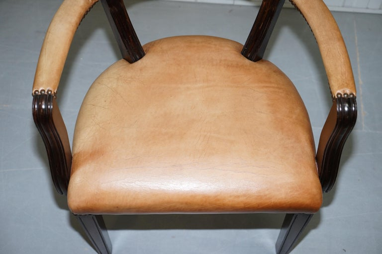 British Brown Leather House of Chesterfield Court Office Dining Chairs For Sale