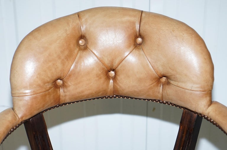 Hand-Carved Brown Leather House of Chesterfield Court Office Dining Chairs For Sale