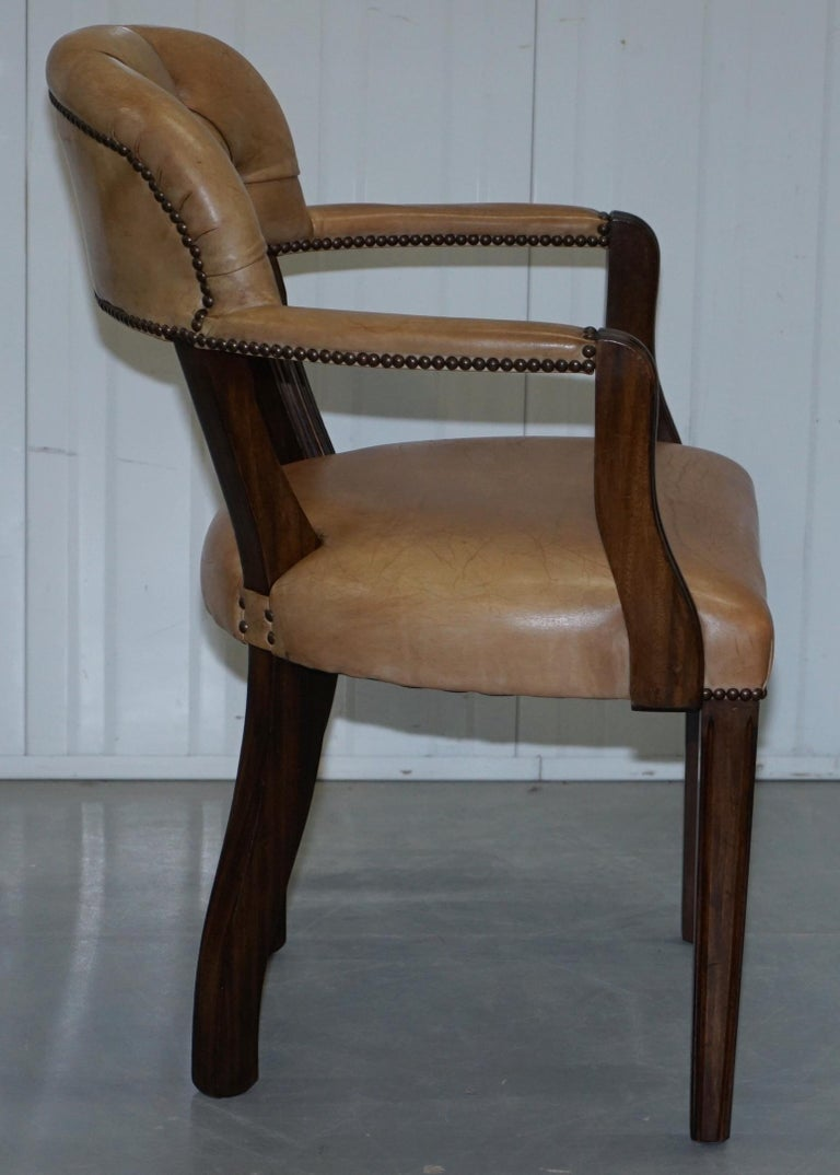 20th Century Brown Leather House of Chesterfield Court Office Dining Chairs For Sale