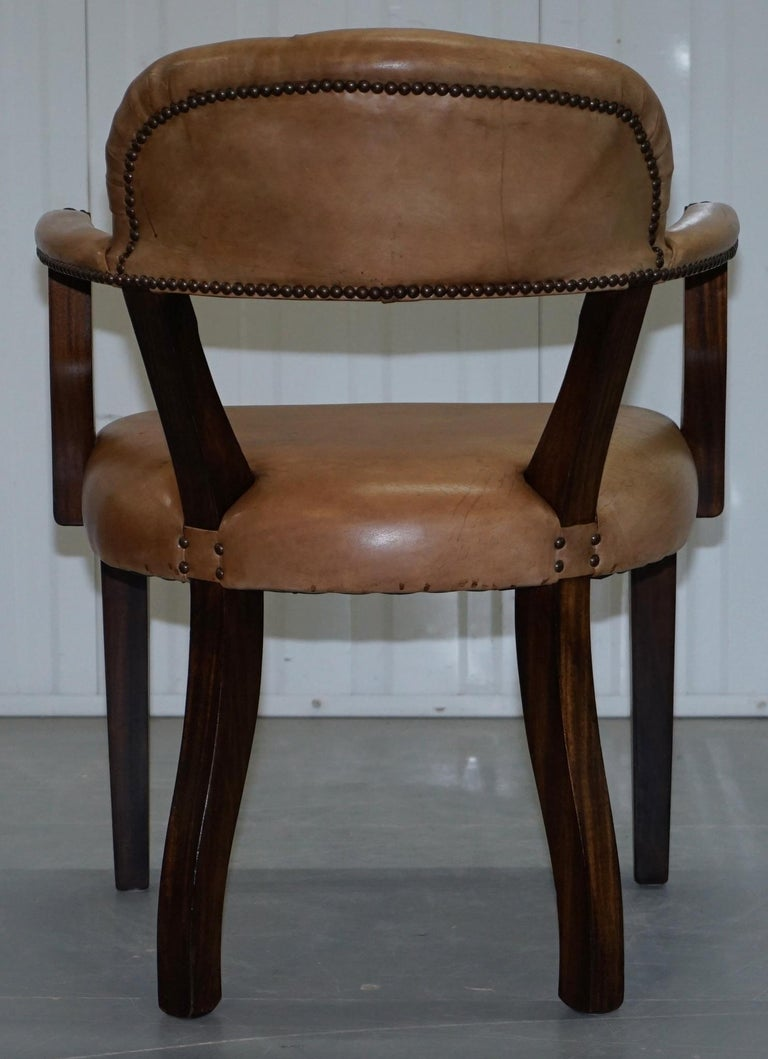 Brown Leather House of Chesterfield Court Office Dining Chairs For Sale 1