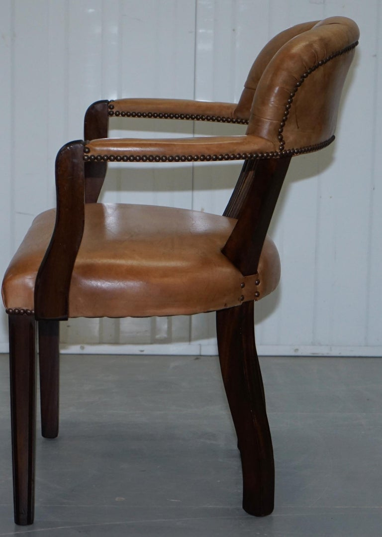 Brown Leather House of Chesterfield Court Office Dining Chairs For Sale 2