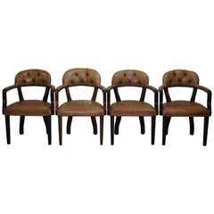 Brown Leather House of Chesterfield Court Office Dining Chairs