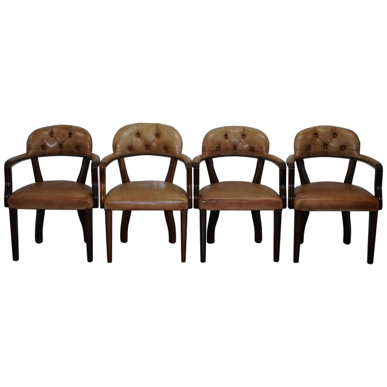 Brown Leather House of Chesterfield Court Office Dining Chairs For Sale