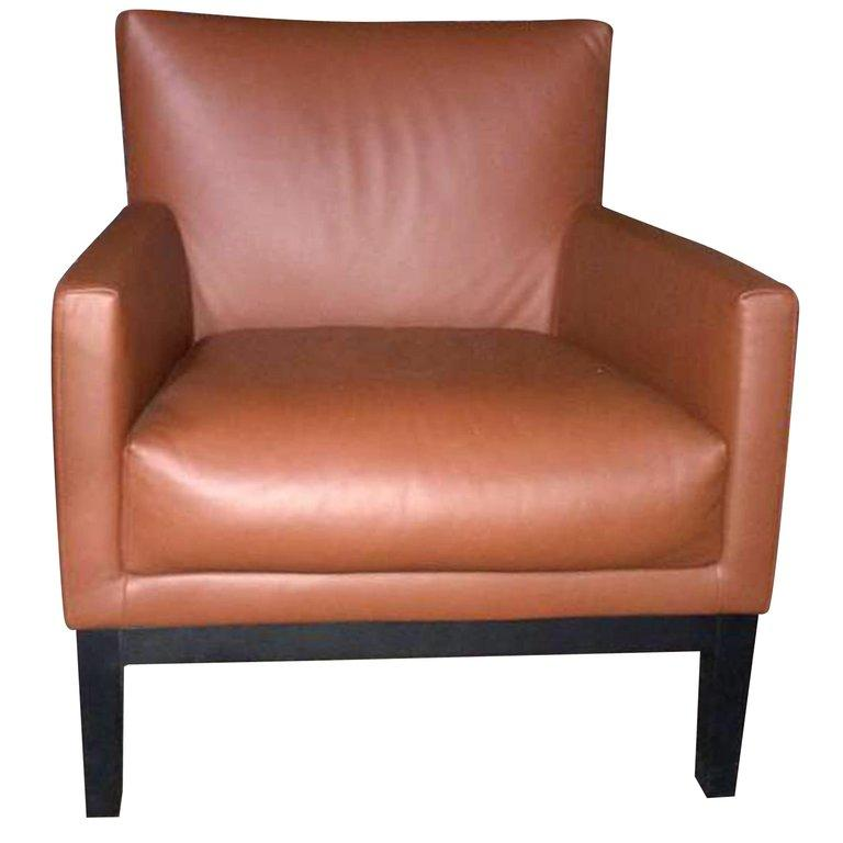 Brown Leather Impala Montis Armchair In Good Condition For Sale In New York, NY