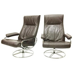Brown Leather Kebe Swivel Chairs