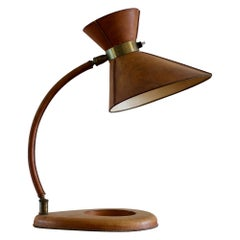 Mid-Century Modern Brass Brown Leather Lamp, Jacques Adnet, France, 1950s,