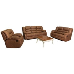 Brown Leather Living Room Set '4 Pieces', 20th Century