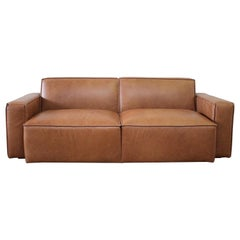 Brown Leather Modern Square Sofa 2 Available