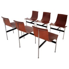 Brown leather original T-Chairs by Katavolos, Kelly, Littell for Laverne, 1967