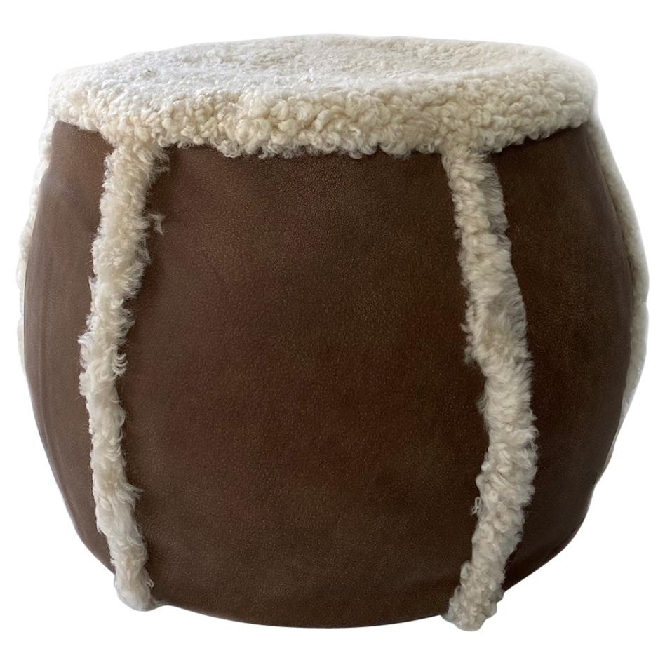 Brown Leather Pouf with Sheepskin Shearling Foot Stool