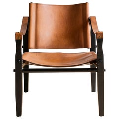 Brown Leather Safari Chair by Folding Furniture Co.