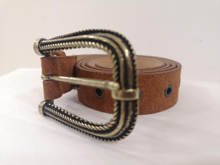 Brown leather suede belt NWOT totally made in italy one size total lenght 105 cm heigh 3 cm