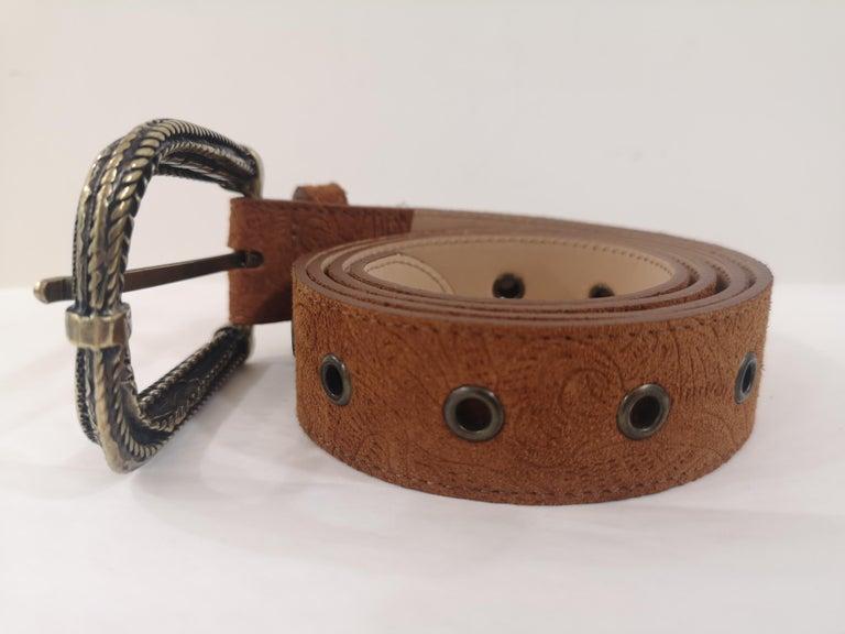 Black Brown leather suede belt NWOT For Sale