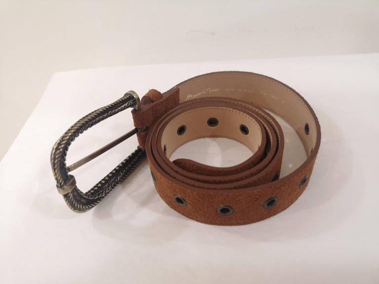 Brown leather suede belt NWOT In New Condition For Sale In Capri, IT