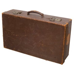Brown Leather Suitcase with Brass Locks, c.1940