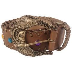 Brown leather swarovski handmade belt NWOT