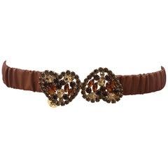 Brown leather swarovski hearts belt