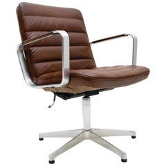 Brown Leather Swivel Chair by Karl-Erik Ekselius for AB J.O. Carlsson, 1960s